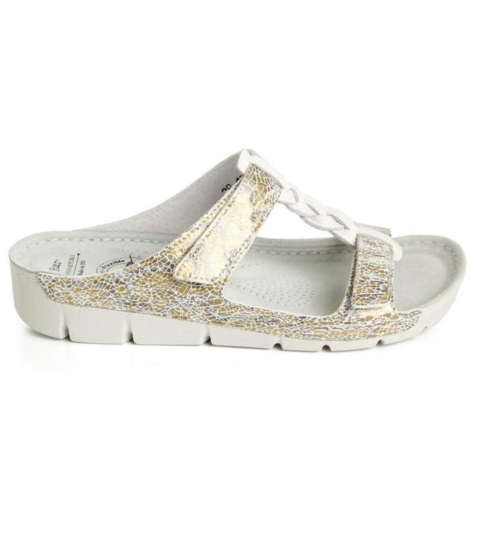0105351c55209 Dámske kožené bielo-zlaté šľapky BORI