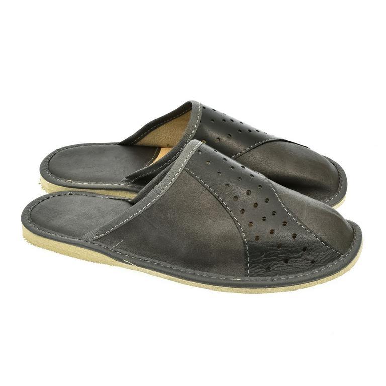 ef58c1b8df0e Pánske sivé kožené papuče JAKOB