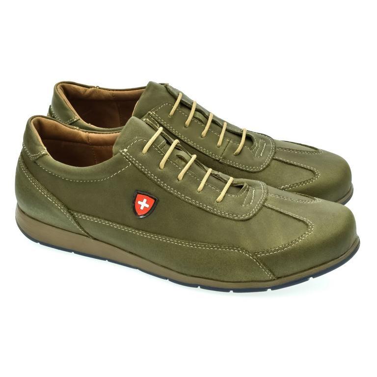 Pánske zelené kožené botasky TIGRAN  e73b1d549f4