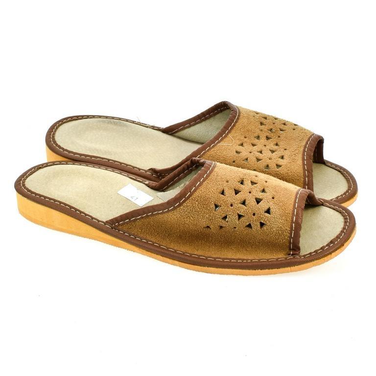 8926eacad0200 Dámske hnedé kožené papuče JULIA | Johnc.sk
