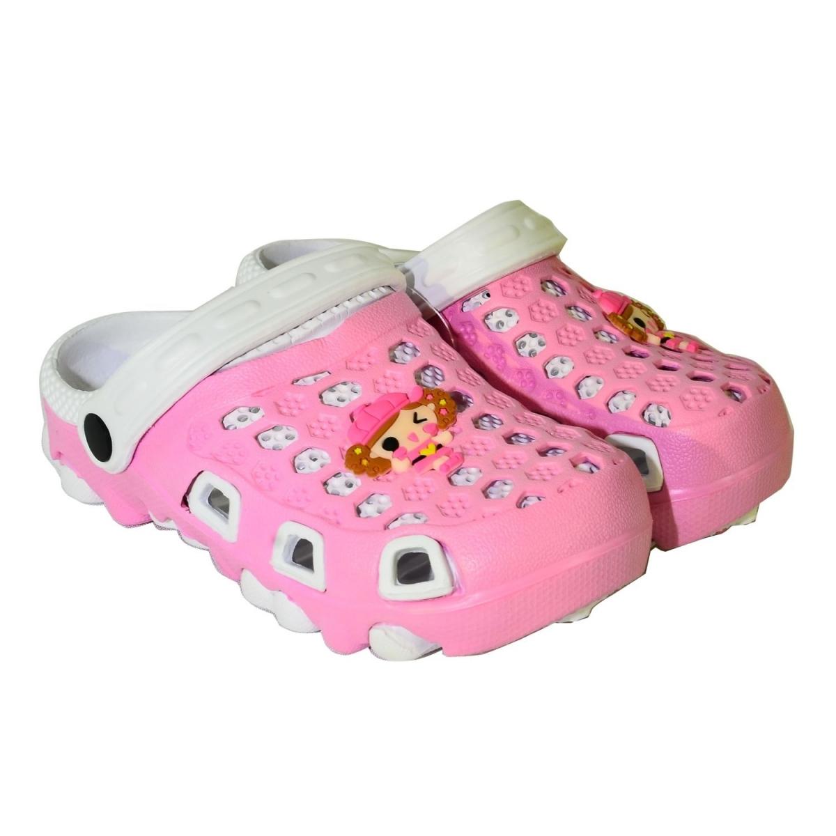 d1d62f17a73f Detské bielo-ružové gumené papuče DANICA