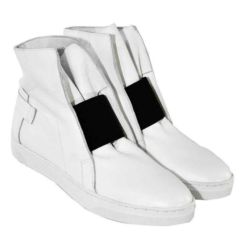 408924525181 Biele uzatvorené topánky bez opätku s čiernym detailom EMA