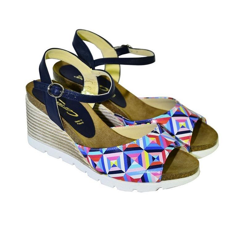 b331da588aa6 Farebné kožené sandále na klinovom opätku Carsona TARA