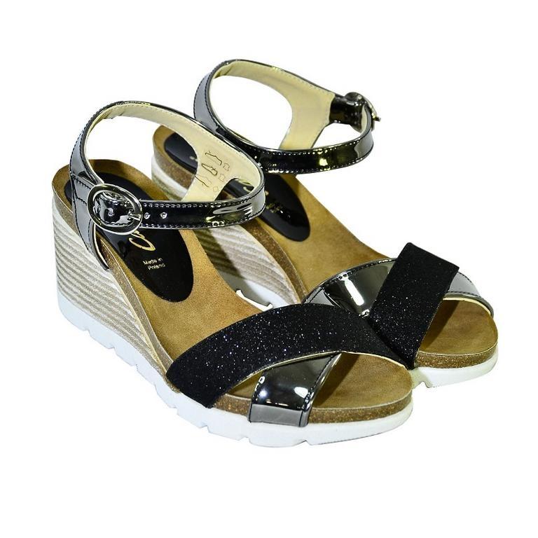 4f4f6bfe6b Čierne kožené sandále na klinovom opätku Carsona LARA