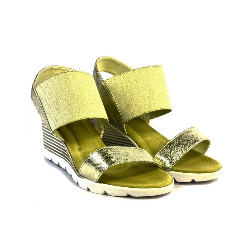 1724122146025 Zlaté kožené sandále na platforme THEA   Johnc.sk