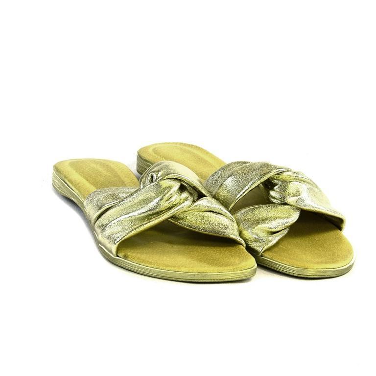 80802a396b85e Zlaté kožené nízke sandále VERVA | Johnc.sk