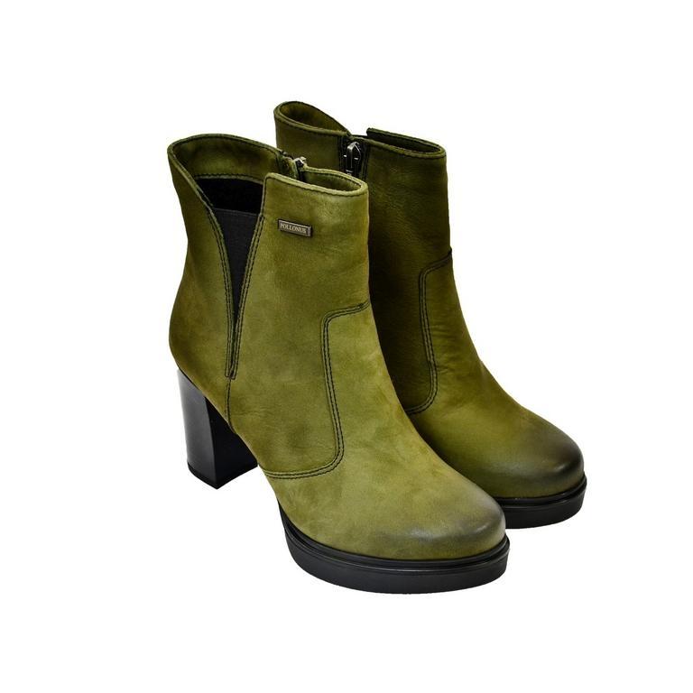 bca86d39e16a Dámske olivovo zelené kožené čižmy SOSNA
