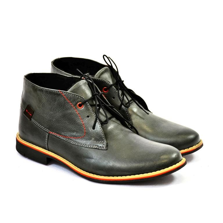 a37f833b55 Pánske sivé kožené zimné topánky RONNY