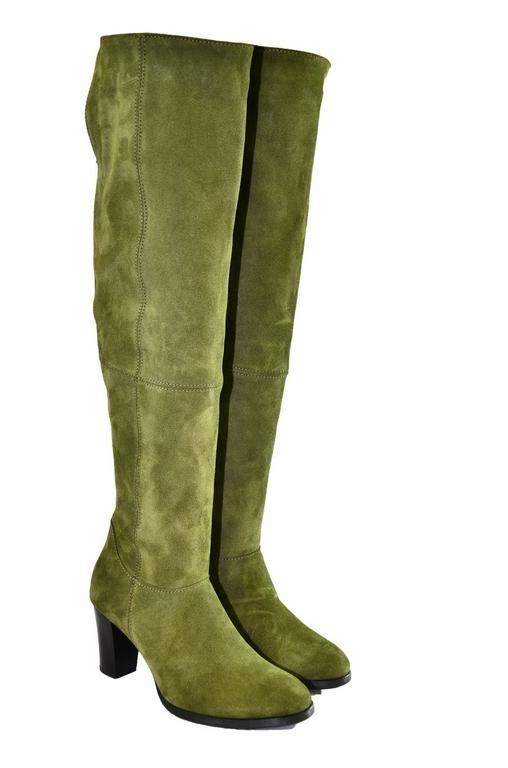59fa74808489 Dámske olivovo-zelené kožené čižmy KYOKO