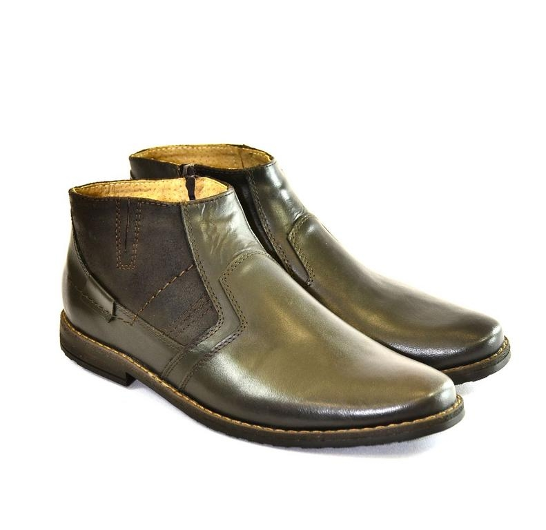 Pánske tmavo-hnedé kožené zimné topánky CONRAD  e056dc3b759
