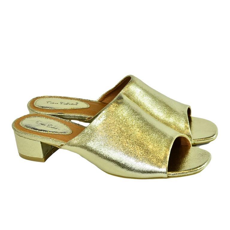 26a3a83818 Dámske elegantné zlaté šľapky LUNA