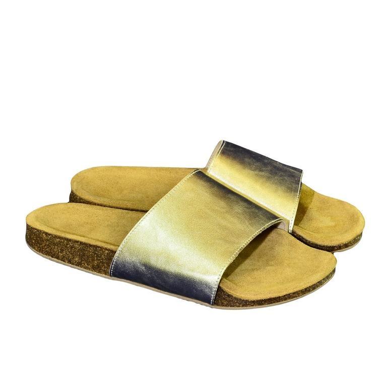 7abaf21a490a Dámske zlaté kožené šľapky ALBINIA