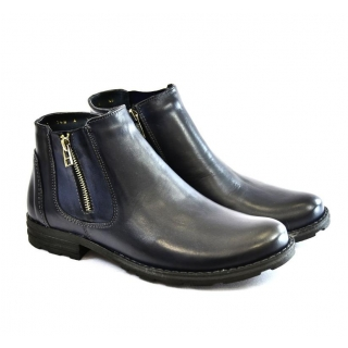 Pánske čierne kožené zimné topánky HARRY  b2b5fcbead3