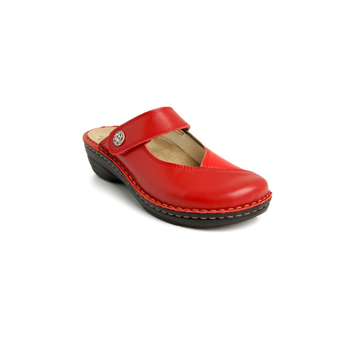 e770e9f8dea0 Dámske kožené červené šľapky BALI - 3