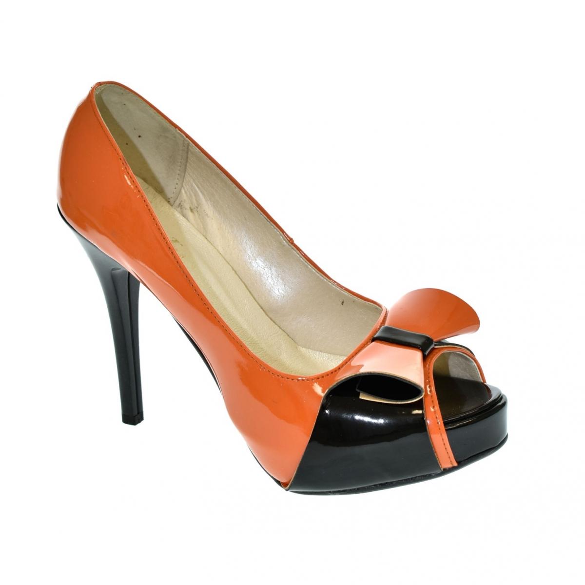8639b4472768 Dámske oranžovo-čierne lodičky PELIA - 2