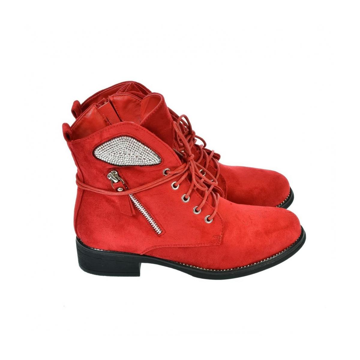 6e4c56e083 Dámske červené poltopánky SPIAT - 5