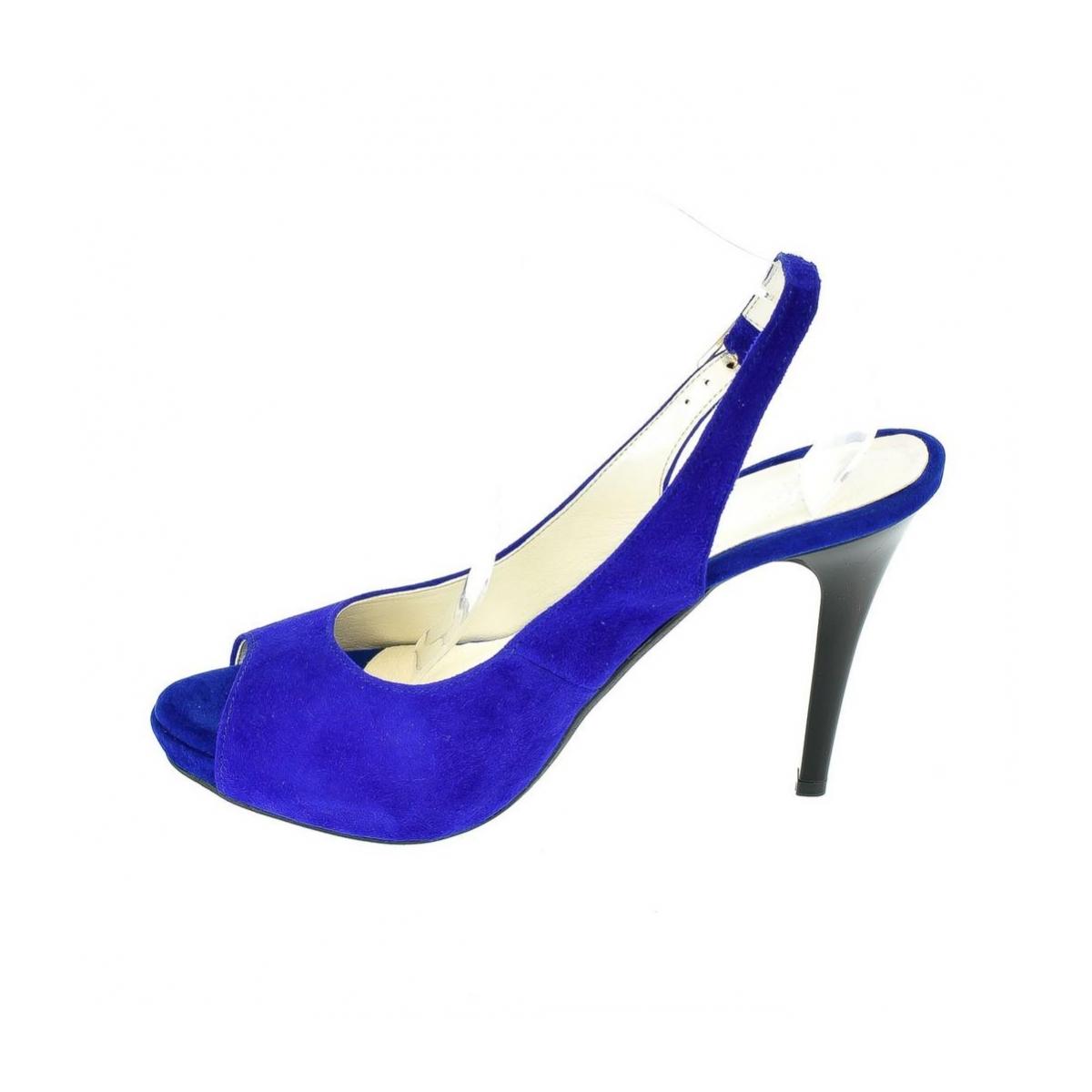 c879a42ddb5d Dámske kožené modré sandále SINNI - 5