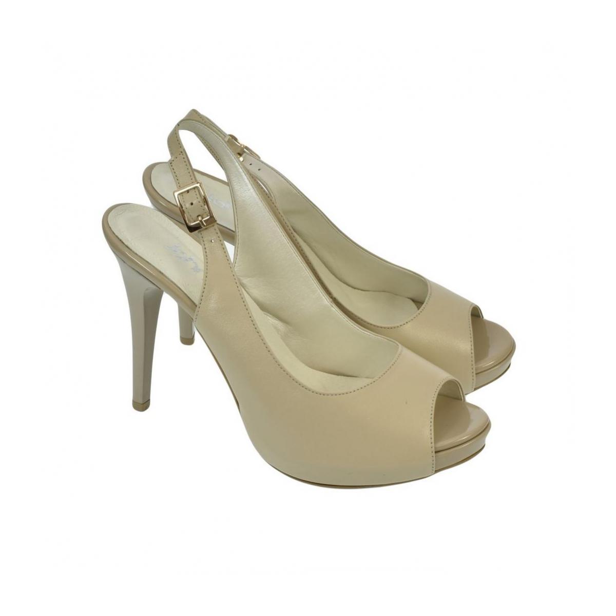 cff7a9e7b499 Dámske kožené béžové sandále SINNI - 3