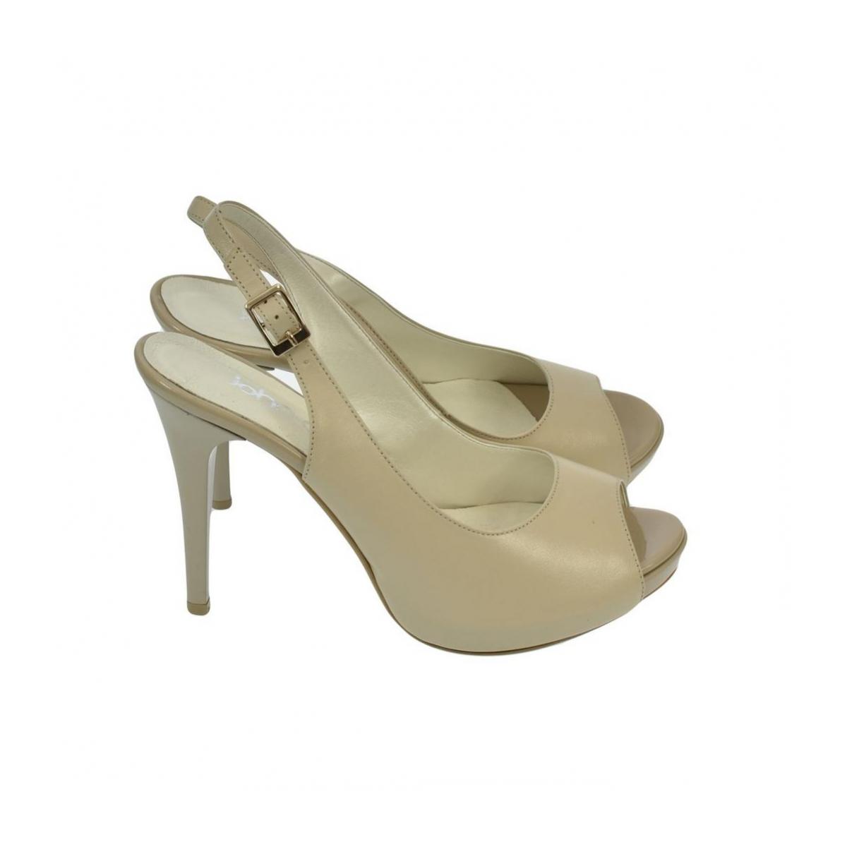 bda2f928ead7 Dámske kožené béžové sandále SINNI - 4