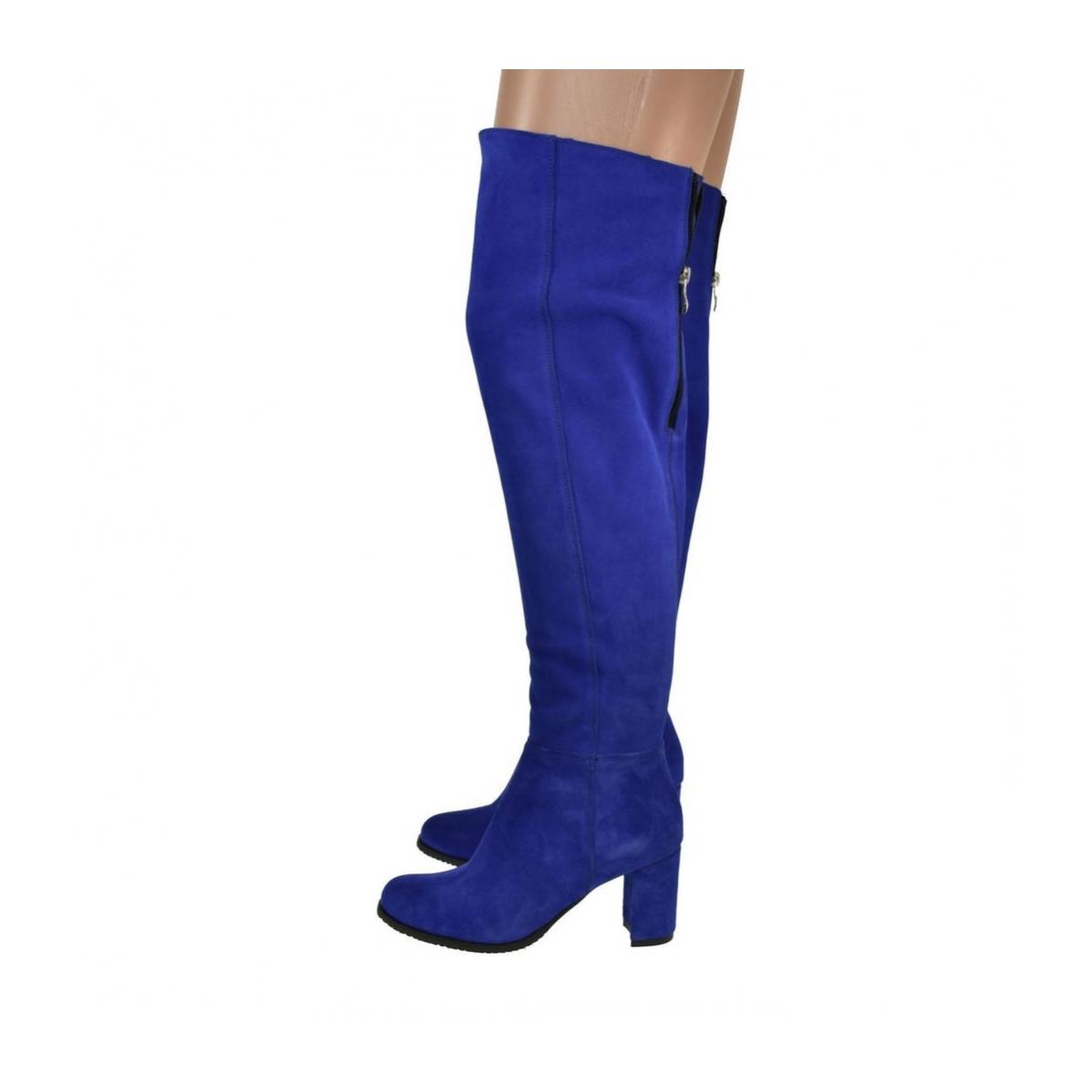 Dámske modré semišové čižmy ARER - 5 2b07096c345