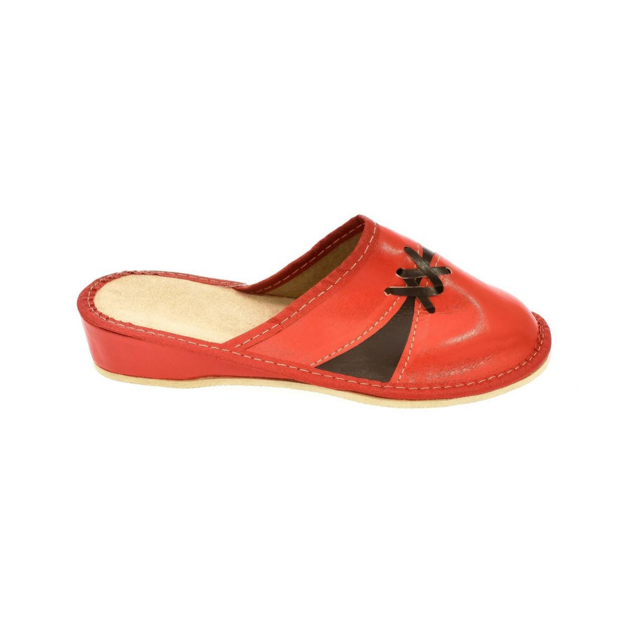4fa3cc67aa23 Dámske kožené červené papuče ZORA - 4