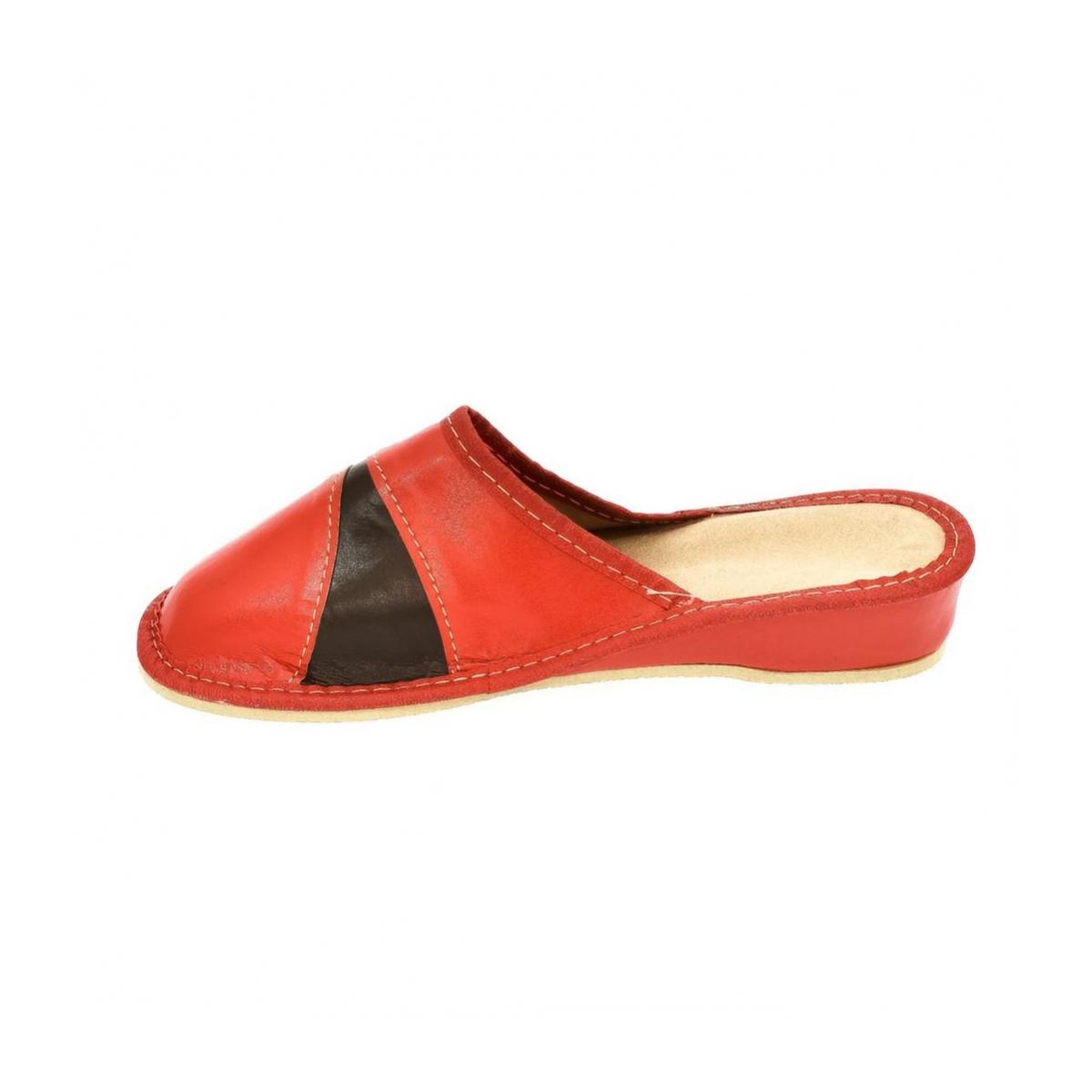 cd96a693af97 Dámske kožené červené papuče ZORA - 5