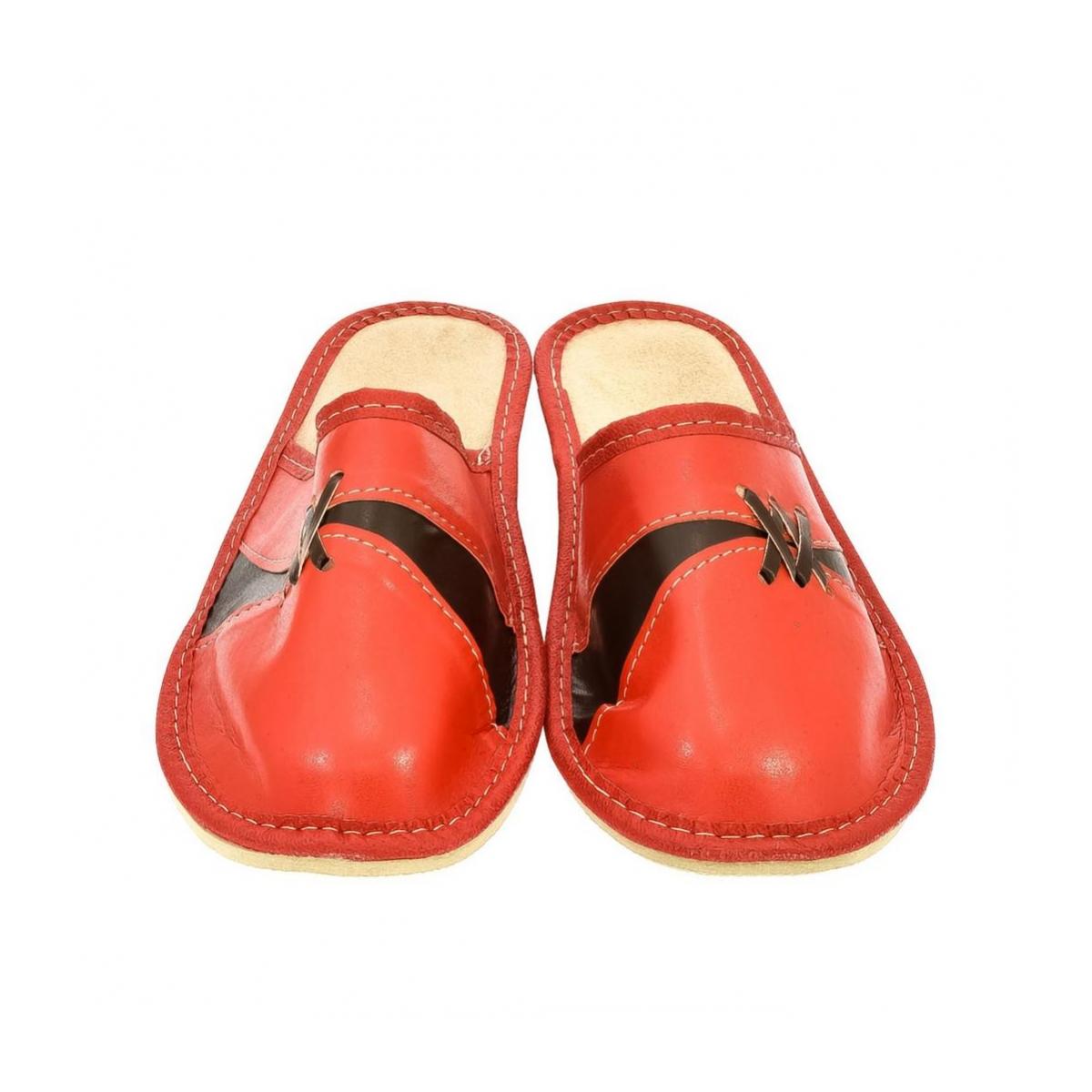 2ecb1c34a16f Dámske kožené červené papuče ZORA - 2