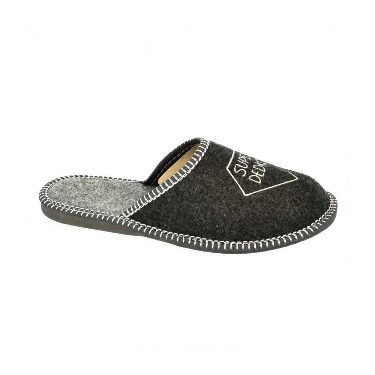 4203e4632375 Pánske sivé papuče DEDKO - 4