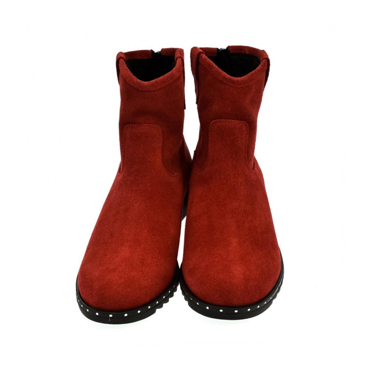 Dámske červené členkové čižmy BETI - 2 5b7d3cfb568