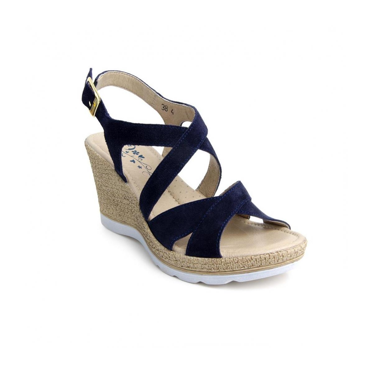 4d934443ec Dámske kožené modré sandále LUCIA - 3
