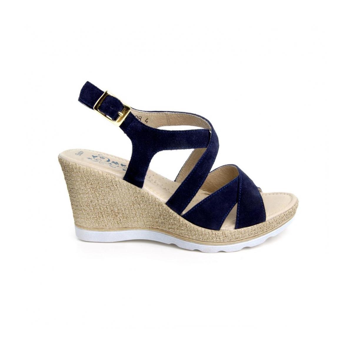 6c7c8d5813b8 Dámske kožené modré sandále LUCIA - 4