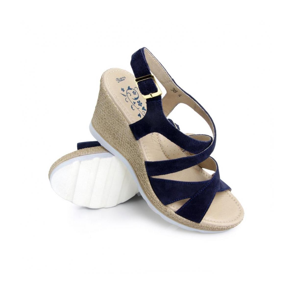 9a510fab5f Dámske kožené modré sandále LUCIA - 2