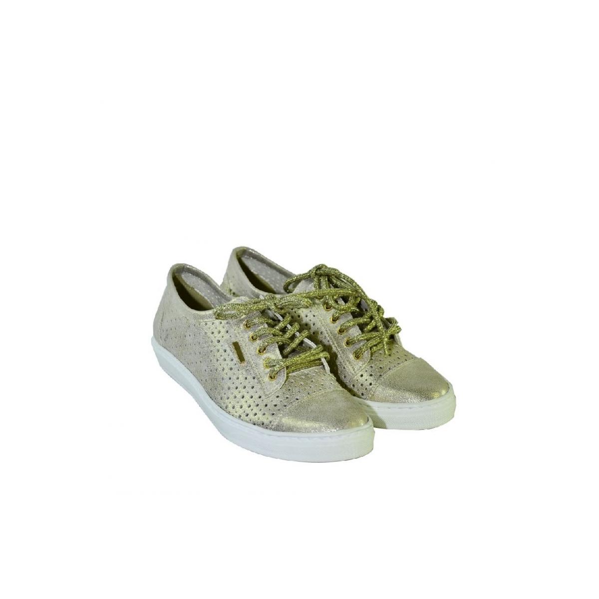 a3c651e0fd Zlaté topánky so šnurovaním bez opätku - 2