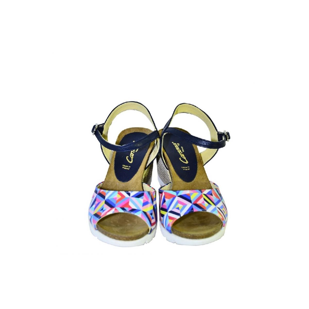 ac7f5e366877 Farebné kožené sandále na klinovom opätku Carsona TARA - 4