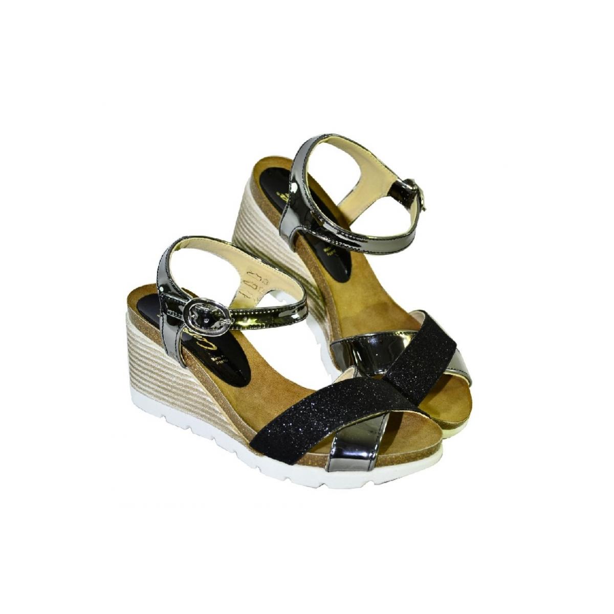 6c9bb10fae Čierne kožené sandále na klinovom opätku Carsona LARA - 3