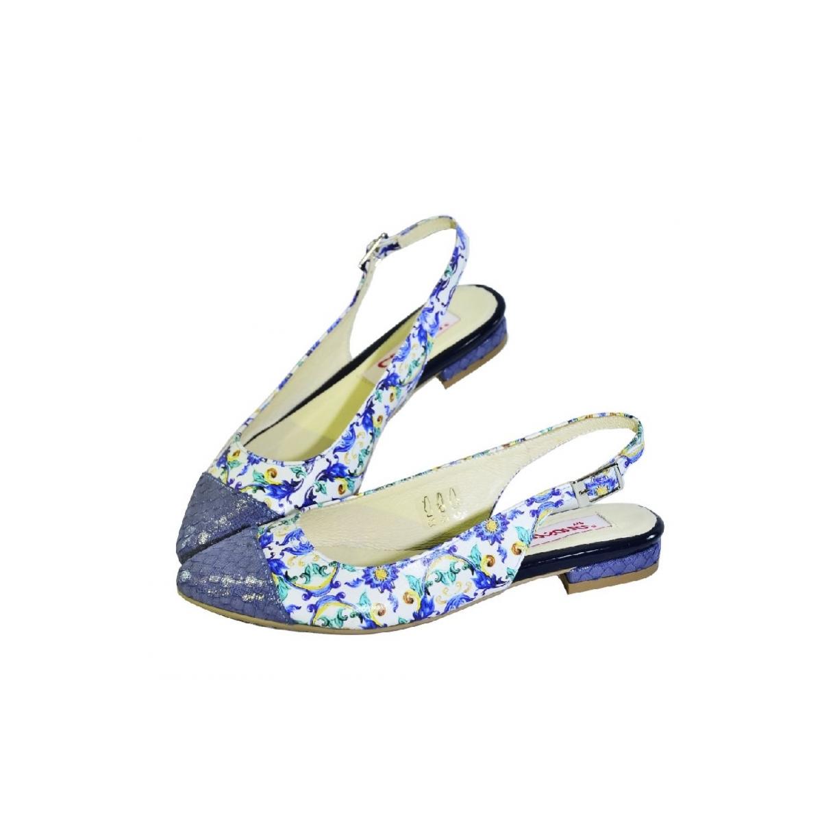 4624d019e Modré kvetinové sandále bez opätku Carsona MIRI | Johnc.sk
