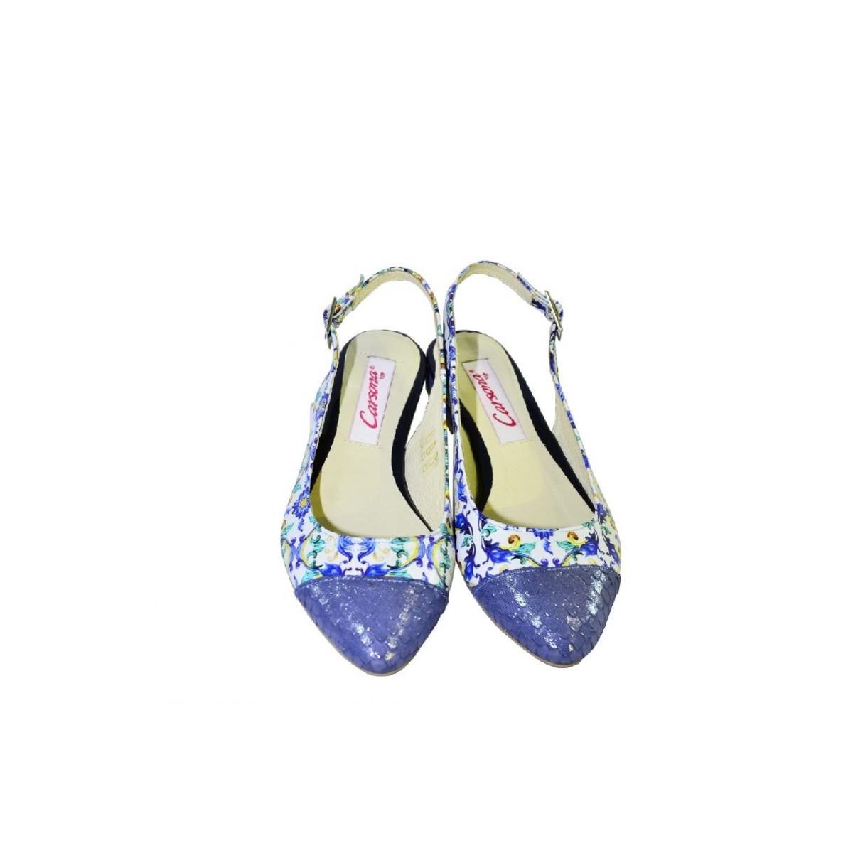 dc0596ae5849 Modré kvetinové sandále bez opätku Carsona MIRI - 4