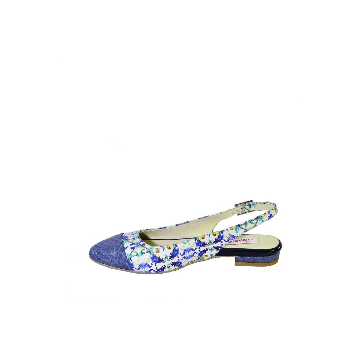 30563f350a1b Modré kvetinové sandále bez opätku Carsona MIRI - 6