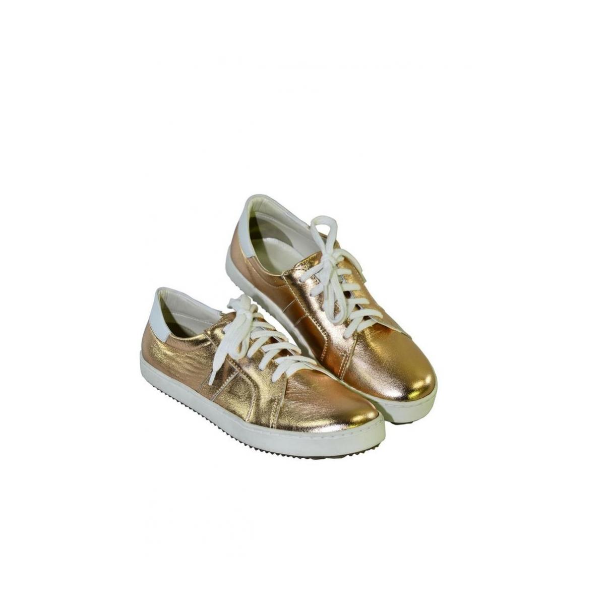 62fb17b87f3c Zlato-ružové kožené topánky na šnurovanie ENVISA - 3