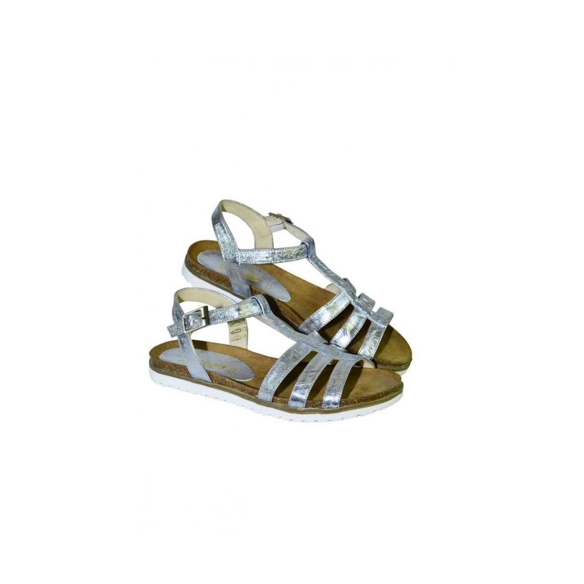 37babd2b2ff2 Strieborné kožené nízke sandále LEA - 2