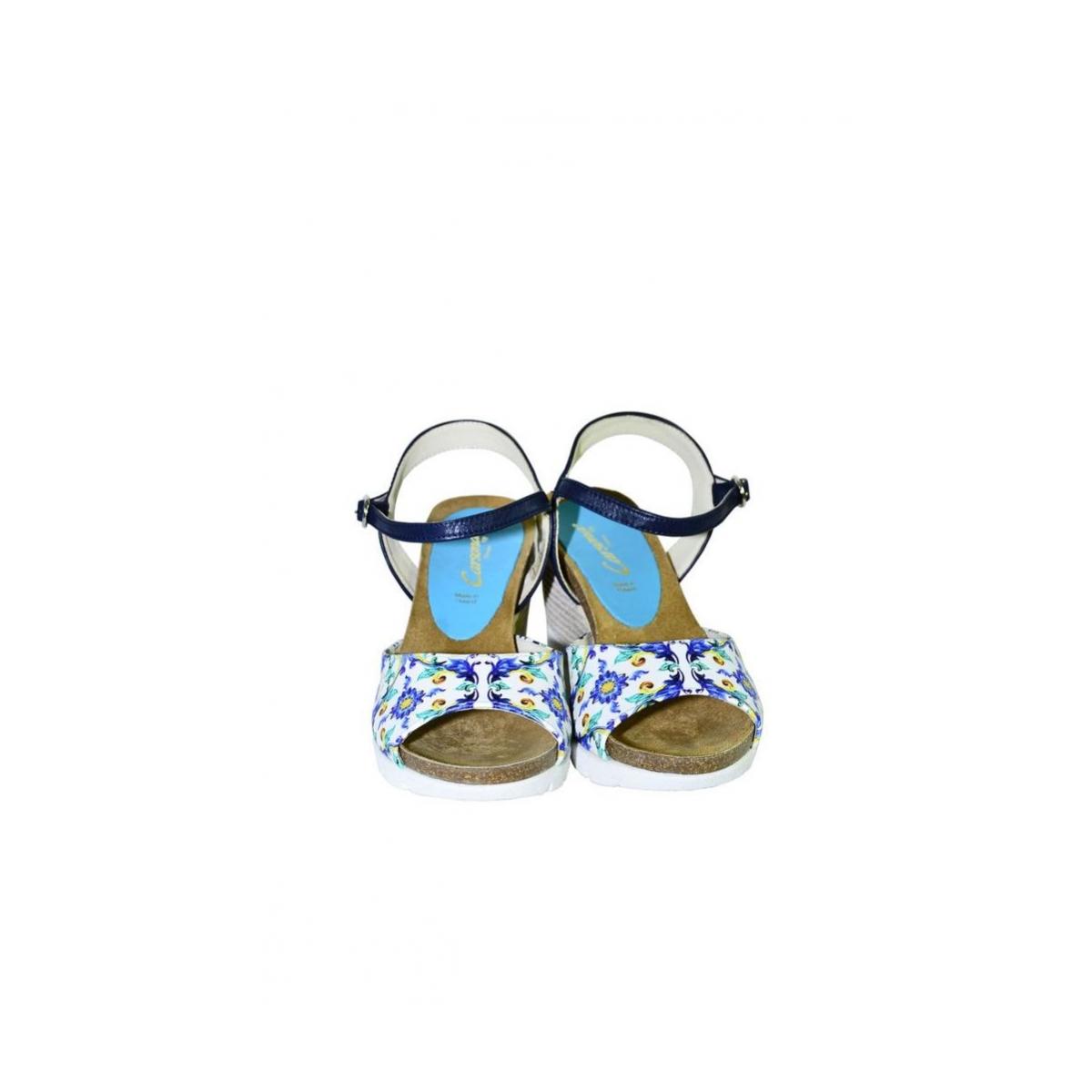 924d62944287 Azúrovo-modré kožené sandále na klinovom opätku Carsona TARA - 4