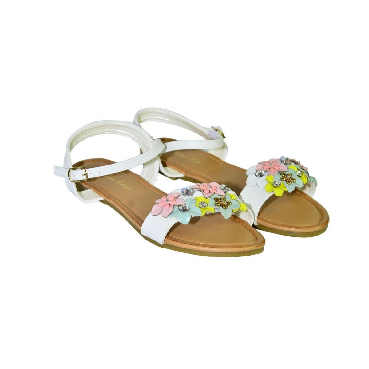 44c33ce1cf87 Biele kvietkované nízke sandále LILY - 3