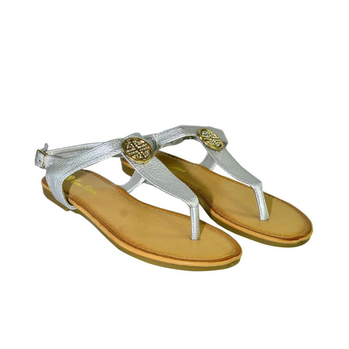 f919e2046a0b Dámske strieborné nízke sandále COCO - 3