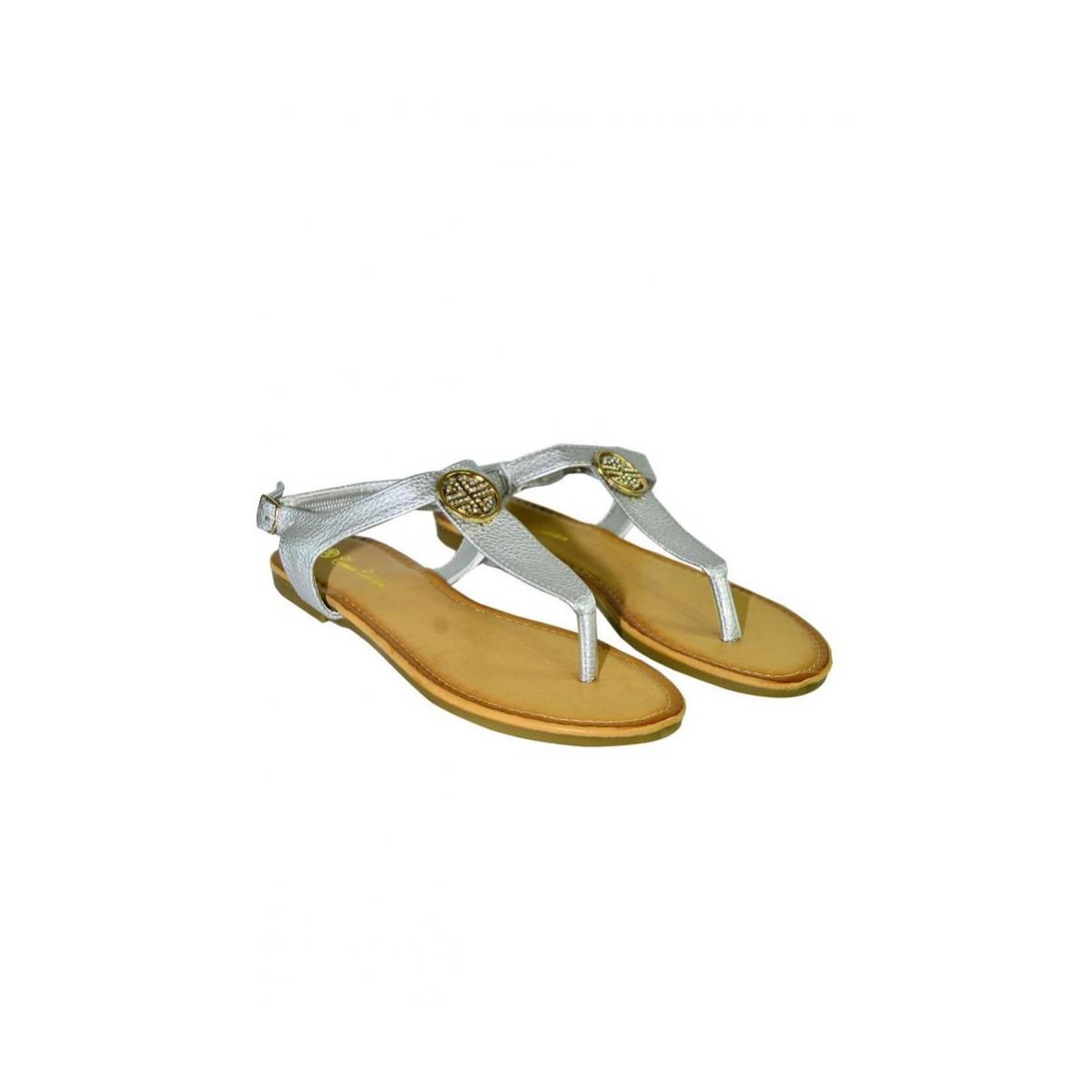 b8d00ed97e4c Dámske strieborné nízke sandále COCO - 4