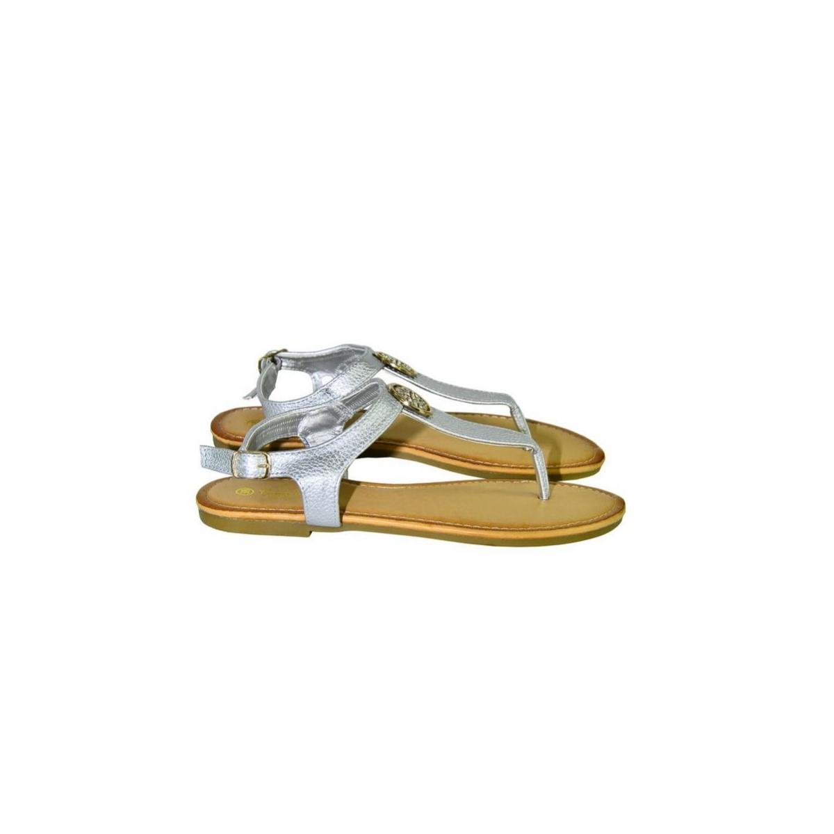 2e60a919bfb1 Dámske strieborné nízke sandále COCO - 5