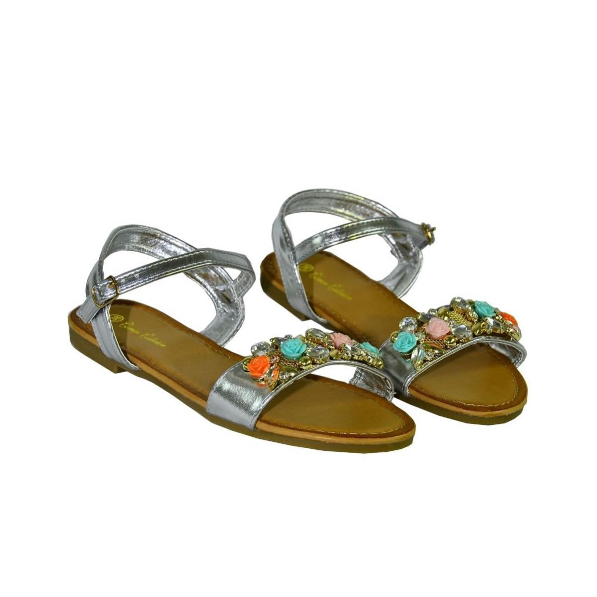 4aa6be1db803 Strieborné nízke sandále s kvietkami SAGE - 3