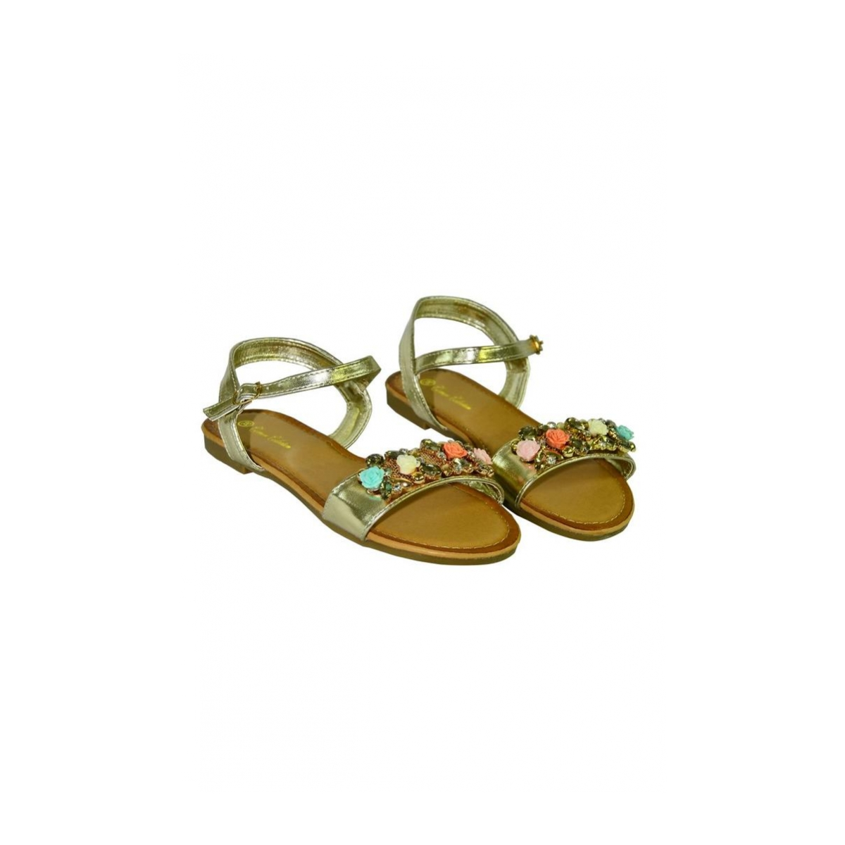 7103133273c6 Zlaté nízke sandále s kvietkami SAGE - 2