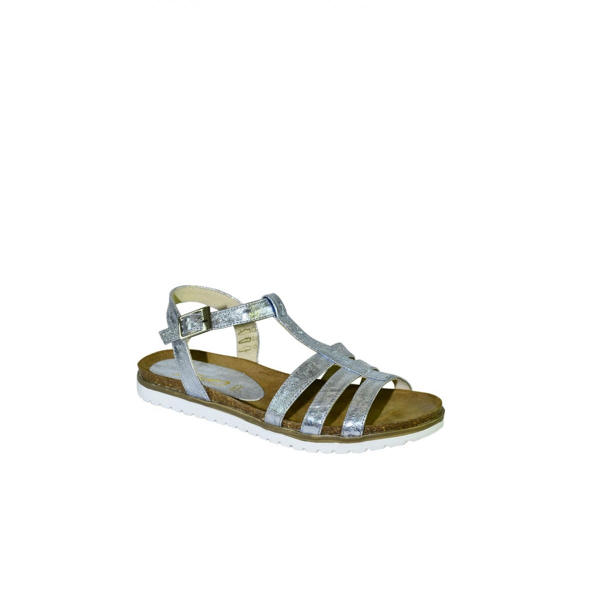 c921cd13e18b Strieborné kožené nízke sandále TARO - 2