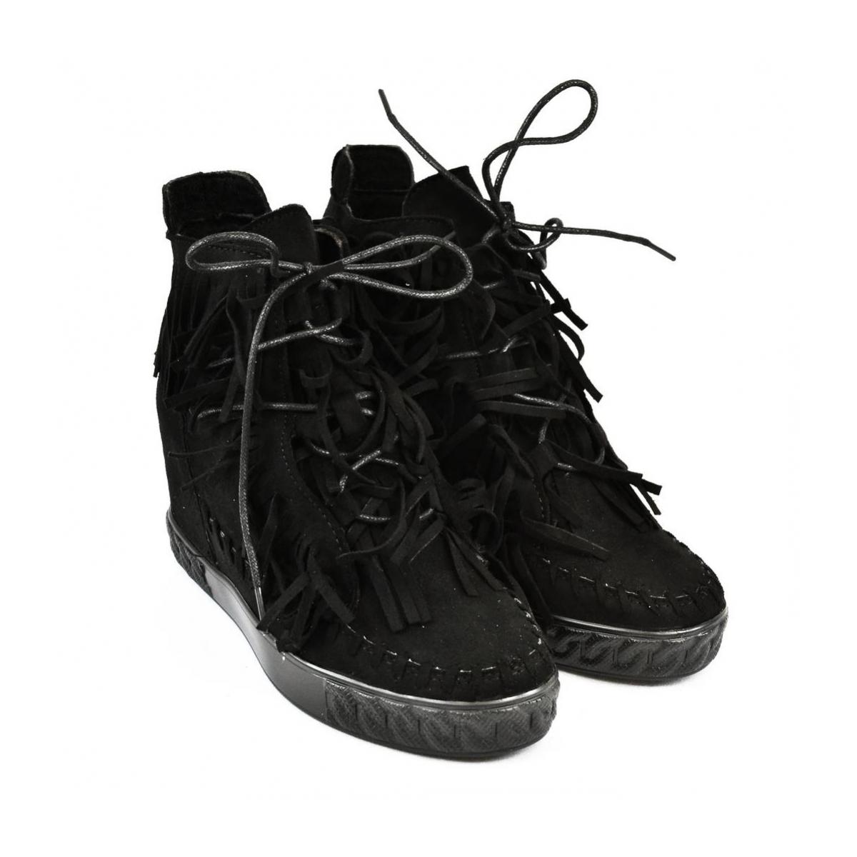 2d48968680 Dámske čierne vysoké tenisky CHEW - 8