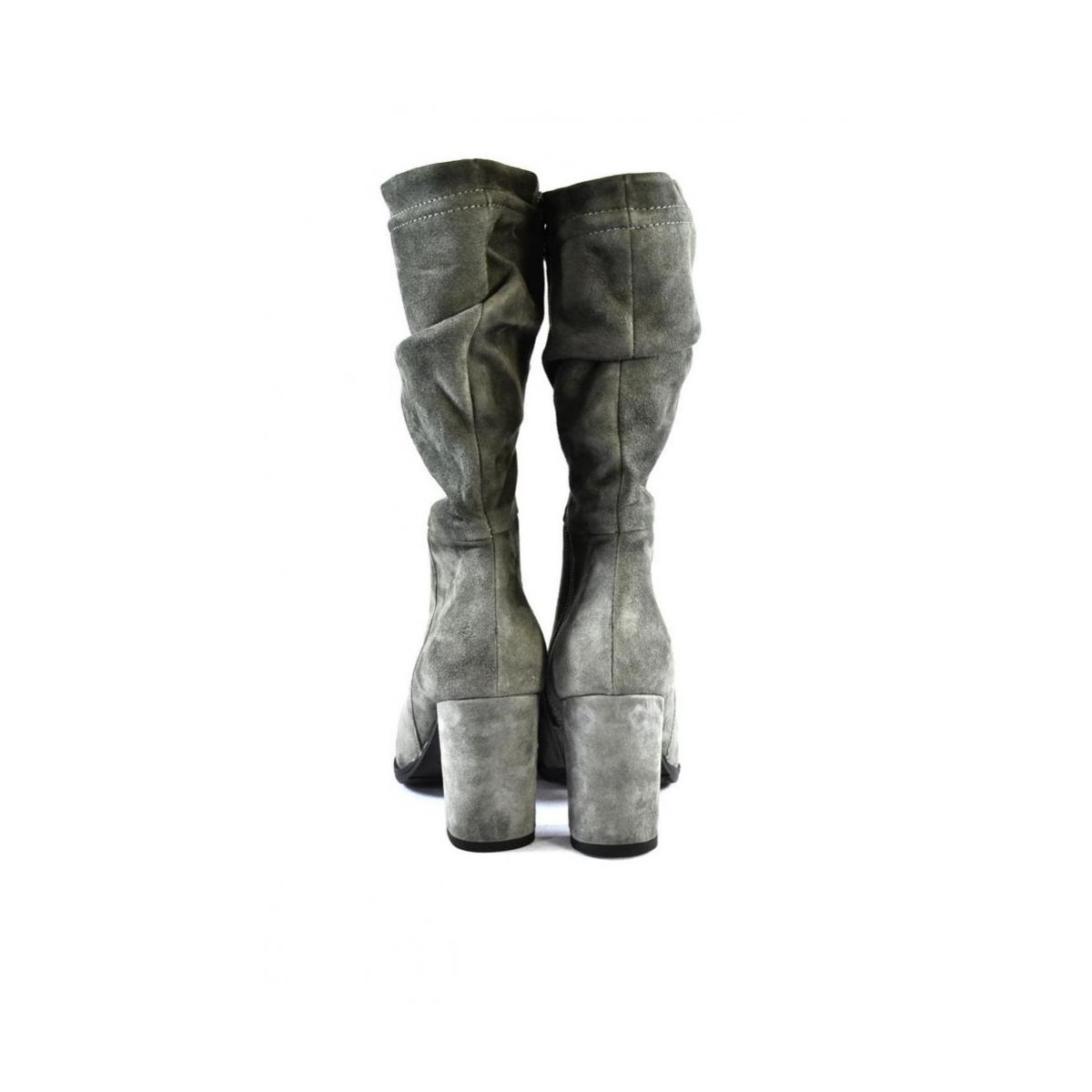 Dámske sivé kožené čižmy ELEONORA - 4 c4412c43ede